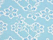 Jerseystoff Spitzenmuster Blumen, weiß hellblau