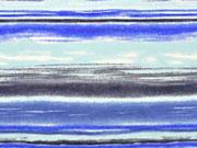 RESTSTÜCK 66 cm Jersey gemalte Streifen, aqua jeansblau