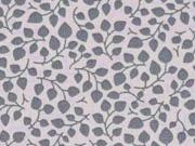 Baumwolle kleine Blätter, grau ecrue