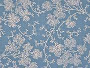 Baumwolle Zweige & Blumen, creme rauchblau