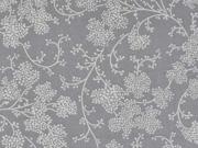 Baumwolle Zweige & Blumen, creme grau