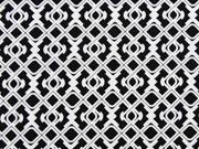 Baumwollsatin grafisches Muster, weiß auf schwarz