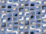 Viskose Quadrate kleingemustert, jeansblau