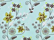 beschichtete Baumwolle Tante Ema Blumen,hellmint