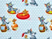 RESTSTÜCK 35cm Jersey Little Darling Tom & Jerry  hellblau