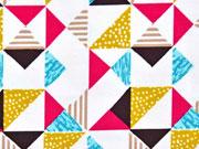 Bio-Jersey bunte Dreiecke, weiss
