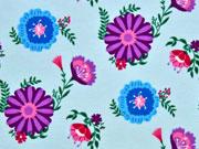 RESTSTÜCK 85 cm Jersey Blumen, aqua