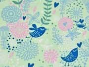 RESTSTÜCK 45 cm Jersey Blumen & Vögel, lindgrün