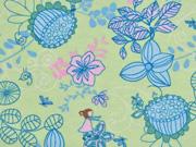 RESTSTÜCK 58 cm Jersey Blumen, lindgrün