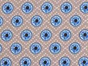 Baumwollstoff Rädchen, hellblau auf beige