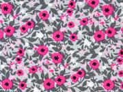 Baumwolle Little Darling Streublümchen, pink grau