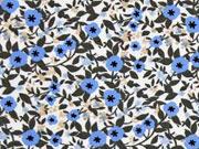 Baumwolle Little Darling Streublümchen, taupe blau weiß