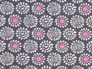Baumwolle Blumen Rädchen, weiss rosa auf schlamm