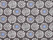 RESTSTÜCK 45 cm Baumwolle Blumen Rädchen, weiss blau auf schlamm