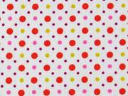 RESTSTÜCK 24 cm Baumwolle Little Darling bunte Punkte, bunt weiss
