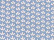 Baumwolle Little Darling Mini Blätter, weiß auf rauchblau