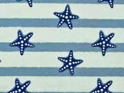 RESTSTÜCK 125 cm Jersey Seesterne und Streifen, hellmint/jeansblau