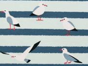 Jersey Streifen und Möwen, hellmint/jeansblau