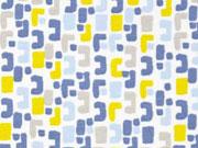 Jersey kleingemustert, ockergelb blau