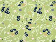 RESTSTÜCK 99 cm Jersey Blumen & Stengel, altgrün