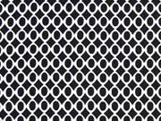 RESTSTÜCK 35 cm Viskose Ovale und Rauten, schwarz/weiß