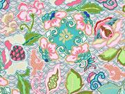 Polyester Satin Flora, apricot mintgrün