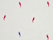 Viskose Papagaien, rot blau cremeweiss