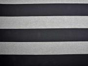 RESTSTÜCK 68 cm Jersey Blockstreifen, schwarz grau