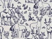 Bio-Jersey Hirsche & Friends, grau/grauweiss