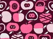 Bio-Jersey Äpfel, helles pink/bordeaux
