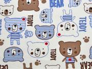 Jerseystoff Teddybären Bear, blau braun cremeweiß