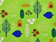 Jersey Blumen und Bäume, hellgrün