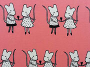 RESTSTÜCK 87 cm Lillestoff Mausis kleine Mäuse auf rosa