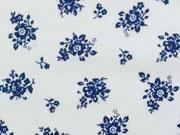 Sommerjersey  kl. Blumen & Blätter, blau auf weiss