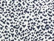 Jerseystoff  kleingemustert abstraktes Leopardenmuster, dunkelblau cremeweiss