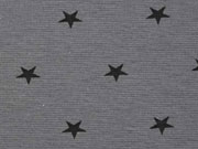 Glattes Bündchen mit Sternen, schwarz/steingrau