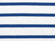 RESTSTÜCK 45 cm French Terry Streifen, mittelblau auf weiß