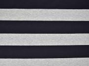 RESTSTÜCK 32 cm Jersey Blockstreifen, schwarz/grau