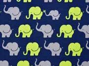 RESTSTÜCK 27 cm Jersey Elefanten, dunkelblau