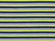 Jersey Streifen, dunkelblau lime