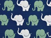 RESTSTÜCK 20 cm Jersey Elefanten, indigoblau mattgrün