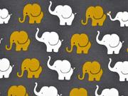 Jersey Elefanten, senfgelb dunkelgrau