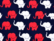 RESTSTÜCK 75 cm Jersey Elefanten, rot dunkelblau