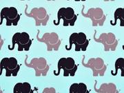 RESTSTÜCK 67 cm Jersey Elefanten, dunkelblau helltürkis