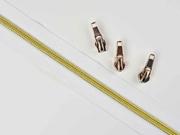 endlos Reißverschluss metallisiert GOLD 6,5 mm Spirale + 3 Schieber, weiß