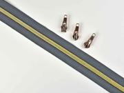 endlos Reißverschluss metallisiert GOLD 6,5 mm Spirale + 3 Schieber, dunkelgrau