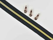 endlos Reißverschluss metallisiert GOLD 6,5 mm Spirale + 3 Schieber, schwarz