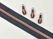 endlos Reißverschluss metallisiert KUPFER 6,5 mm Spirale + 3 Schieber, dunkelgrau
