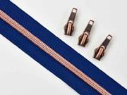 endlos Reißverschluss metallisiert KUPFER 6,5 mm Spirale + 3 Schieber, marine blau