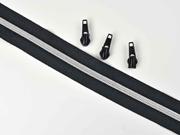 endlos Reißverschluss metallisiert SILBER 6,5 mm Spirale + 3 Schieber, schwarz